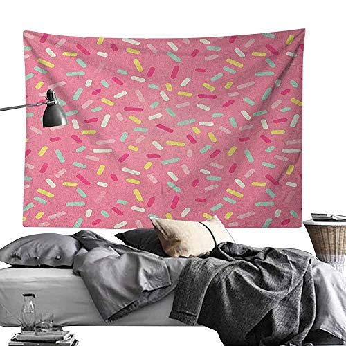 Maureen Austin Polyester Tapestry DecorativePink and White,Abstract Pattern of Colorful Donut Sprinkles Sweet Tasty Food Bakery Theme, Multicolor Wall Hanging for Bedroom Living Room Dorm70 x90
