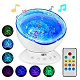 Ocean Night Light Projector with Music,Delicacy 12 LED Remote Control Undersea Projector Lamp,7 Color Changing Music Player Night Light Projector for Kids Adults Bedroom Living Room Decoration
