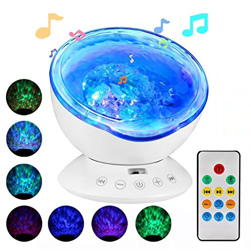 Ocean Wave Projector,Delicacy 12 LED Remote Control Undersea Projector Lamp,7 Color Changing Music Player Night Light Projector for Kids Adults Bedroom Living Room Decoration