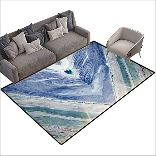 Anti-Slip Cooking Kitchen Carpets Marble,Onyx Stone Tribal Style with Color Elements Agate Authentic Pattern,Teal Dark Blue Light Grey 64
