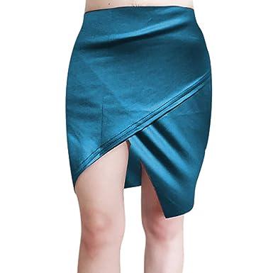 QIjinlok Faldas de Cuero Mujer Faldas Cortas Elástico Paquete ...