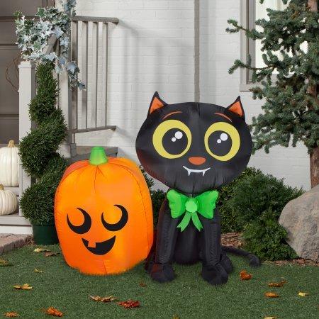 Indoor Outdoor Airblown Inflatable-Cat and Pumpkin Patio Halloween Decoration