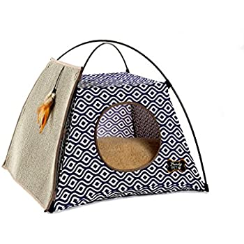 Trendy Pet Cat Tent with Attached Cat Scratcher | Removable Bolstered Microfiber Pillow - 21in x 21in x 18.5in - Navy Blue