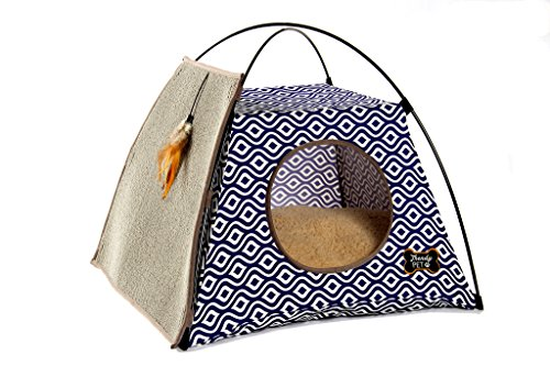 - Trendy Pet Cat Tent with Attached Cat Scratcher | Removable Bolstered Microfiber Pillow - 21in x 21in x 18.5in - Navy Blue