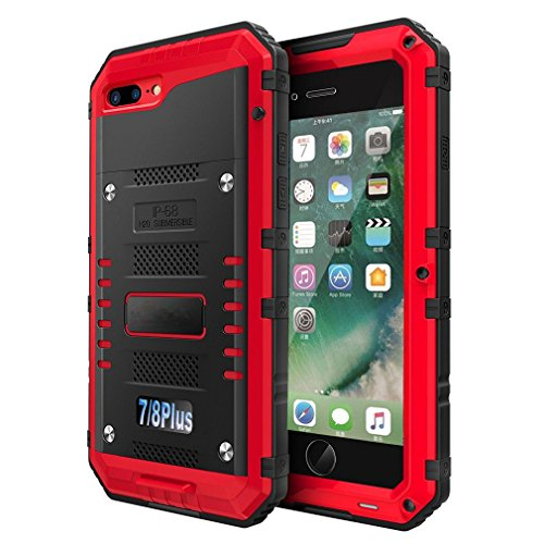 iPhone 7 Plus/8 Plus Waterproof Case, CarterLily Underwater Full Body Heavy Duty with Built-in Screen Snowproof Shockproof Dropproof Tough Rugged Hybrid Hard Military Cover for iPhone 7 8 Plus (Red)
