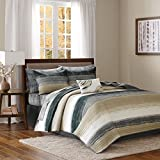 Madison Park Essentials Saben Queen Size Quilt Bedding Set - Taupe, Striped – 8 Piece Bedding Quilt Coverlets – Ultra Soft Microfiber Bed Quilts Quilted Coverlet
