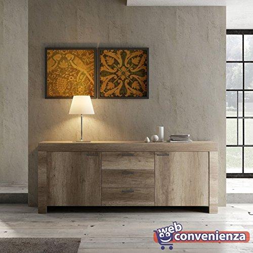 Web Convenienza Land CredenzaMadia Contenitore 2 Ante 3 Cassetti Rovere Canyon