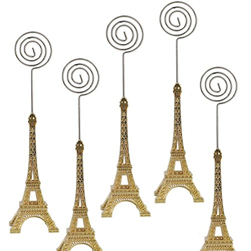 - HUELE 5 pcs Eiffel Tower Style Place Card Holder Memo Clip For Note Message Clip Photo Display with Gift Box