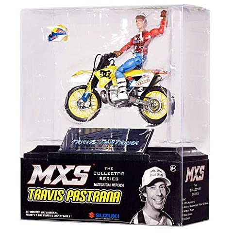 TRAVIS PASTRANA COLLECTOR SERIES HISTORICAL REPLICA JAKKS PACIFIC MOTOCROSS SUPERCROSS ACTION FIGURE with TOY DC SHOES SUZUKI RM250 MX - Suzuki Replica