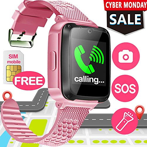 Screen Free Cell Electronic - SIXONE Kid Smart Watch Phone with Free SIM Card SOS Tracker for Boy Girl Game Sport Watch with Anti-Lost Camera Electronic Learning Toy Wrist Watch Bracelet for Birthday Christmas Holiday Toy Gifts