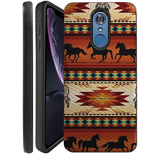 (CasesOnDeck Case Compatible with [LG Stylo 4, LG Stylo 4 Plus, LG Q Stylus] Textured Tribal Floral Designs On Dual Layer Embossed Slim Cover (Western Horse Tribal))