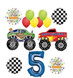 Mayflower Products Monster Truck Party Supplies 5th Birthday Balloon Bouquet Decorations