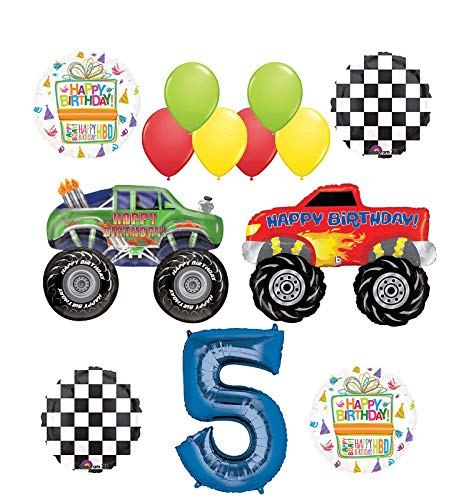 Monster Truck Party Supplies 5th Birthday Balloon Bouquet Decorations -