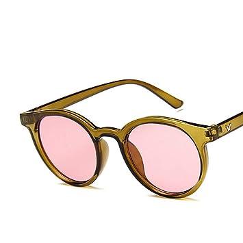 QDE Gafas de sol Gafas De Sol Redondas Red Blue Mujeres Rosa ...