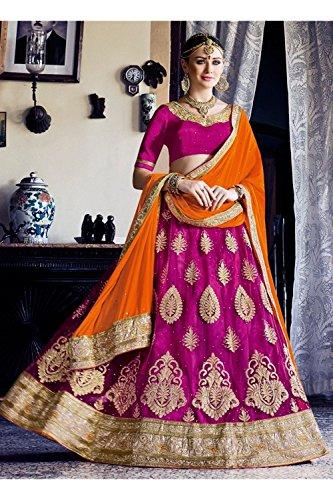 Da Facioun Indian Women Designer Wedding violet Lehenga Choli K-4640-40756