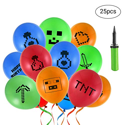 MineHobby Miner Crafting Pixel Style Gamer Party Balloon Gamer Birthday Party Supplies- Large 12