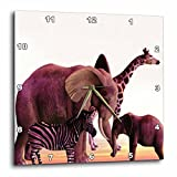 Cheap 3dRose dpp_48977_1 African Safari with Elephant, Giraffe and Zebra Wall Clock, 10 by 10-Inch