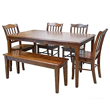 Boraam 86636 Shaker 6 Piece Dining Set, Walnut