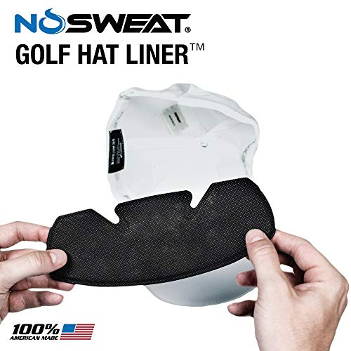 No Sweat Golf Hat Liner & Cap Protection - Hyperhidrosis Product, Prevent Hat Stains/Sweat Rings - Moisture Wicking, Headband Sweatband, Hat Saver, Sweat Prevention, Cooling Towel Effect (3 Pack)
