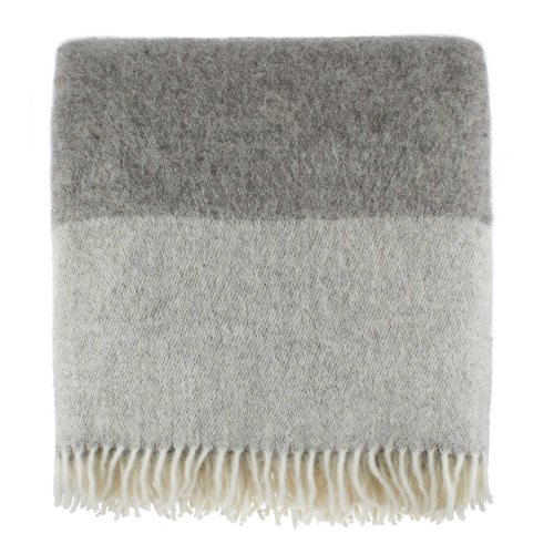 Virgin Wool Blanket - URBANARA 100% Pure Wool Throw Karby 55x87 Charcoal/Light Grey with Fringe - Virgin Wool Blanket in Windowpane Design - Perfect for Couch, Sofa, Bedroom, King or Queen Size Bed