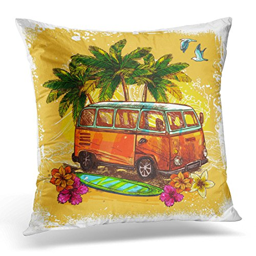 Breezat Throw Pillow Cover Van Surf Hippy Style Vintage Old Bus with Surfboard Flowers and Palm Sketch Color Rasta Decorative Pillow Case Home Decor Square 16x16 Inches Pillowcase (Van Hippy)