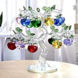 Gold Happy Chirstmas Tree Hanging Ornaments 30mm 40mm Crystal Glass Apple Miniature Figurine Natale Home Decorations Figurines Crafts Gifts