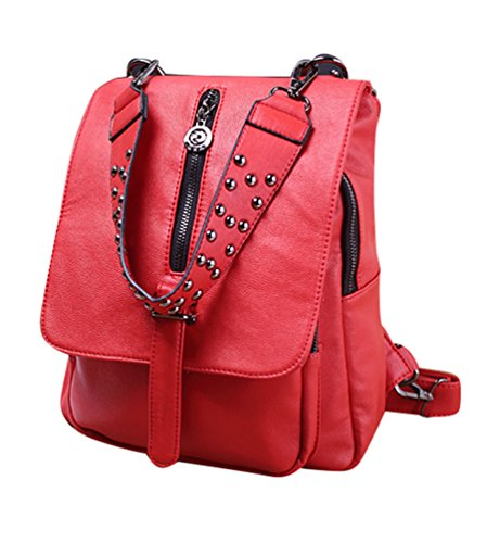 Heheja Mujeres Moda Faux Leather Travel Mochila De Gran Capacidad Bolso Rojo