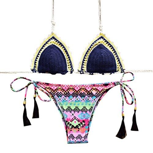 WanYang Mujeres Elásticos De La Cintura De La Falda Bikinis Set Para Mujer Playa Traje De Baño #-3