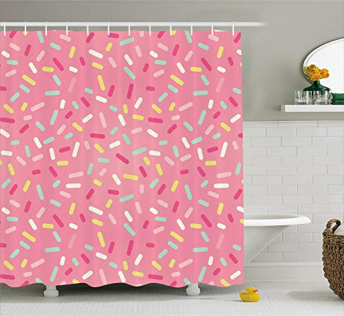 (Ambesonne Pink and White Shower Curtain, Abstract Pattern of Colorful Donut Sprinkles Sweet Tasty Food Bakery Theme, Cloth Fabric Bathroom Decor Set with Hooks, 75 inches Long, Pink)