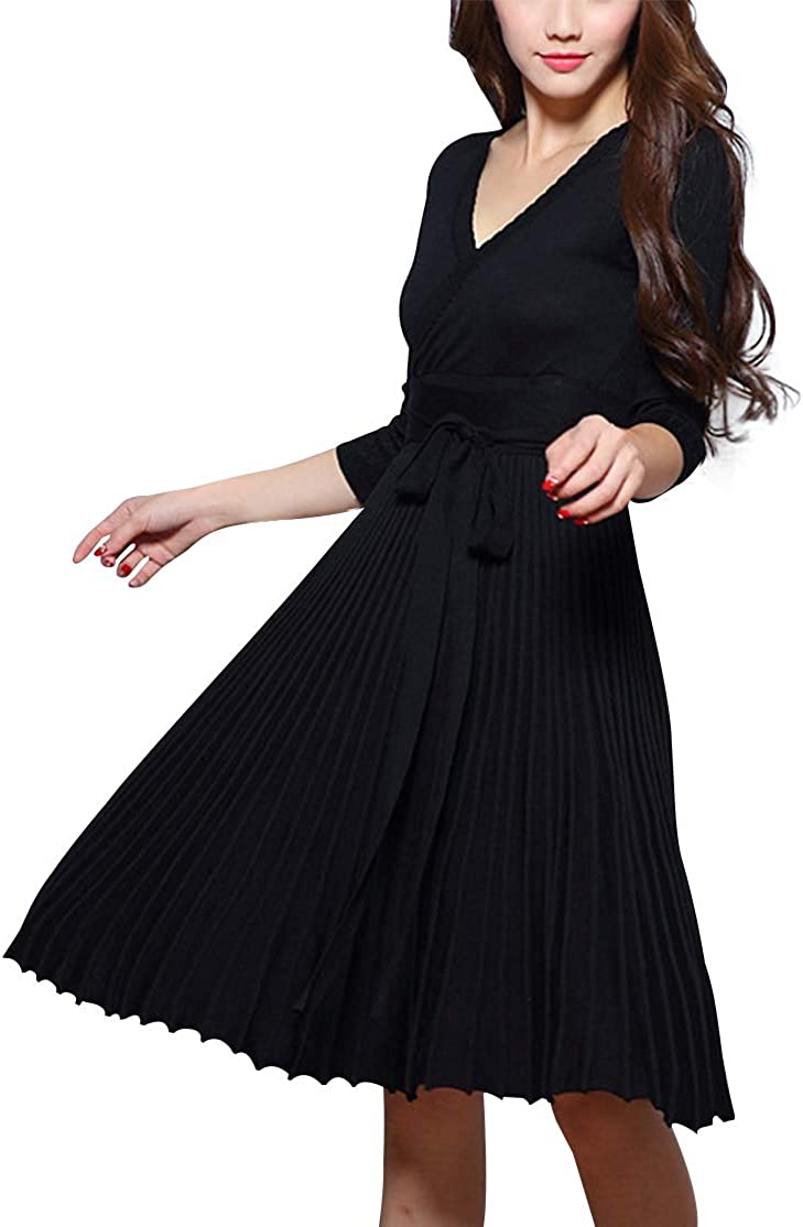 Edjude Womens V Neck Wrap Knit Dress Work Cocktail Party Flare Dress with Belt