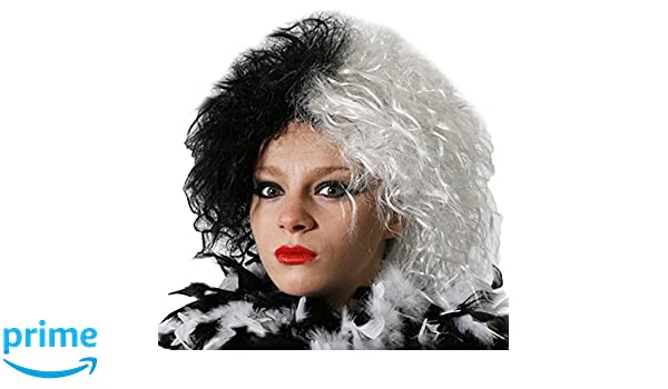HALF/WHITE GREAT FOR CRUELLA FANCY DRESS BY ILOVEFANCYDRESS (peluca): Amazon.es: Juguetes y juegos