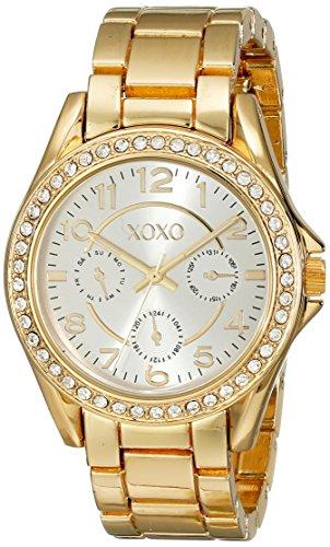 Gold Bezel Watch - XOXO Women's XO178 Rhinestone-Accented Gold-Tone Watch