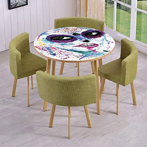 iPrint Round Table/Wall/Floor Decal Strikers/Removable/Grunge Halloween Lady with Sugar Skull Make Up Creepy Dead Face Gothic Woman Artsy/for Living Room/Kitchens/Office Decoration ()