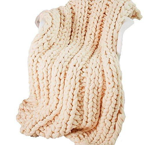 79x79inch Arm Knit Blanket,Cream Extreme Knitting Blanket,Knit Blanket,Chunky Knit Throw,Blanket,Wool Blanket,Giant Knit Blanket,Super Chunky ()