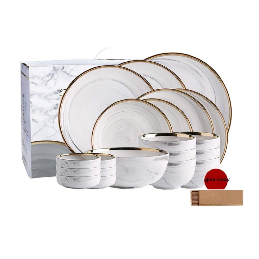 WJP Ensemble de 20 pièces de Maison en marbre de Style nordique Phnom Penh, Ensemble de vaisselle en céramique,Weiß,cm