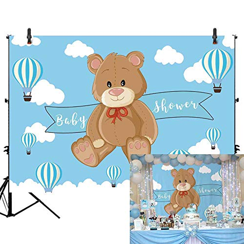 Allenjoy 7X5ft Cartoon Bear Baby Shower Backdrop Infant Newborn Baby It's a Boy Prince Welcome Baby Blue Hot Air Balloons Photography Background Cake Table Banner Decorations Photo Booth Props ()