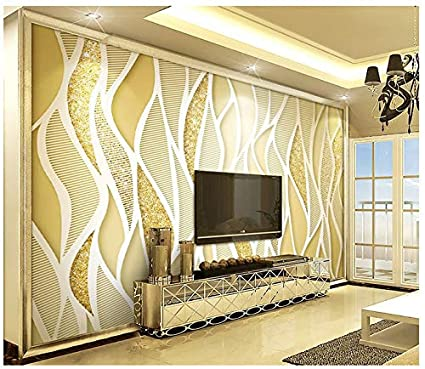 3d Wallpaper Mural Silk Cloth Golden Luxury Gold Glitter Line 3d