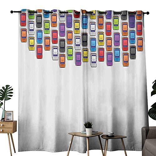 - Room Darkening Wide Curtains Modern Traffic Jam with Bunch of Cars Automobiles Urban Life Downtown Artsy Illustration Multicolor Blackout Draperies for Bedroom Living Room W108 xL84