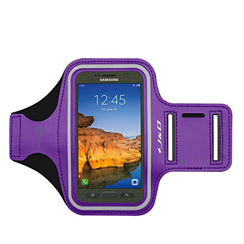 J&D Armband Compatible for Galaxy S7 Active Armband, Galaxy S8 Active Armband, Sports Armband with Key Holder Slot for Samsung Galaxy S7 Active Running Armband, Perfect Earphone Connection - Purple