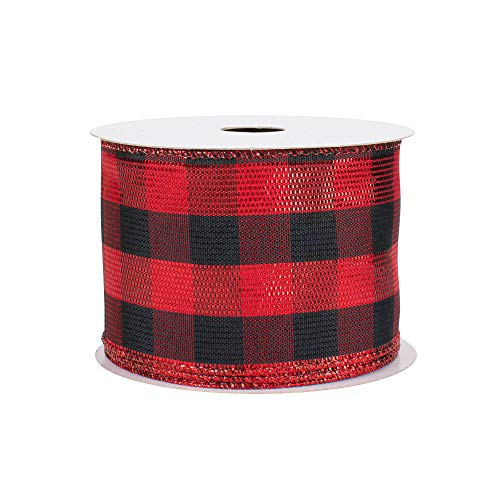 Metallic Buffalo Plaid Wired Ribbon - 2 1/2