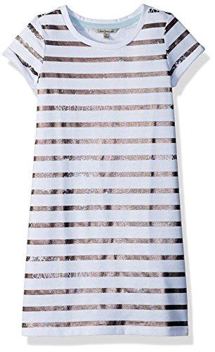 Calvin Klein Big Girls' Dress, White Foil, Large (12/14)