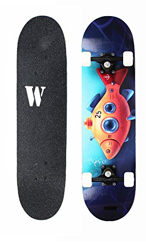 WiiSHAM Skateboards Pro 31 inches Complete Skateboards for Teens, Beginners, Girls,Boys,Kids,Adults