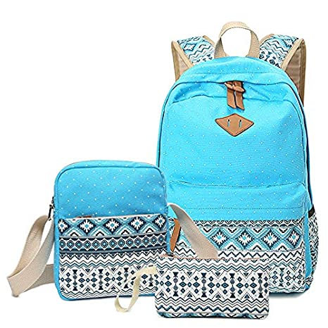 167393890f44 Amazon.com  Canvas School Bags Set for Girls Female Backpack ...