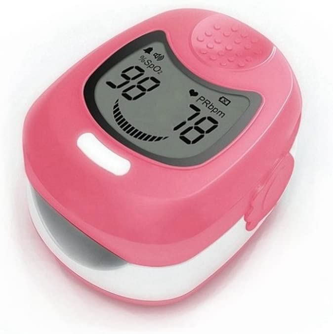 Deporte niño/Pediatric dedo oxímetro de pulso y monitor de frecuencia cardíaca con batería recargable, cargador y correa de transporte–corazón tasa y SPO2