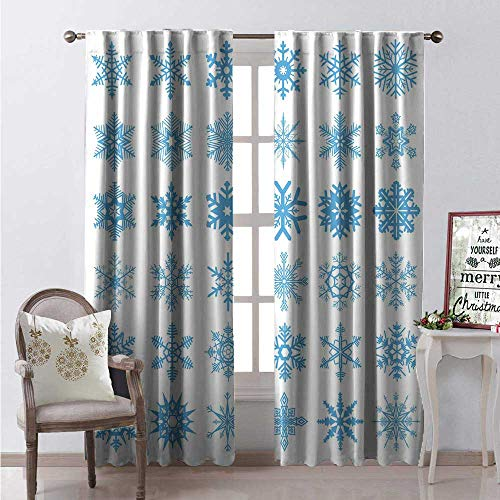 Hengshu Snowflake Waterproof Window Curtain Freeze Snow Winter New Years Eve Christmas Pattern Symmetric Print Decorative Curtains for Living Room W84 x L84 Deep Sky Blue and White