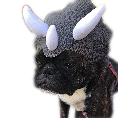 Coppthinktu Triceratops Dog Costume Halloween Dinosaur Headpiece Hat with Elastic Strap for Dog -