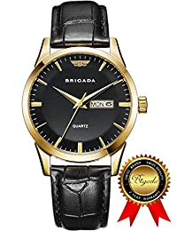 BRIGADA Swiss watches Classic Gold Waterproof Business Casual Quartz Watch for Men Boys, Great Gift for Families, Lover, Friends or Yourself (black gold)