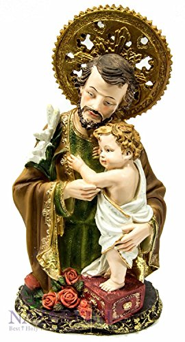 St.Joseph with Infant Jesus Figurine Hand Painted Holyland Statue by Holy Land Gifts
