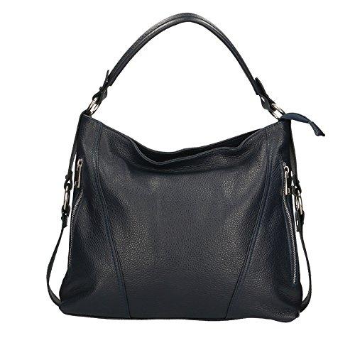 Chicca Borse Mujer de embrague bolso pequeño con correa para el hombro, patrón dólar, cuero auténtico Made in Italy - 26x16x6 Cm Azul