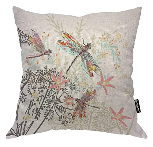 - Moslion Dragonfly Pillows Retro Insect Dragonflies Flower Tree Branch Leaves Throw Pillow Cover Decorative Pillow Case Square Cushion Accent Cotton Linen Home 18x18 Inch Beige